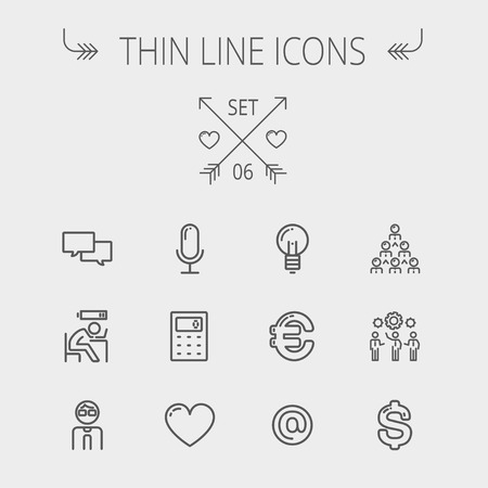 thin bulb: Business thin line icon set for web and mobile. Set includes- people, dollar, euro, bulb, e-mail, calculator, heart, microphone. Modern minimalistic flat design. Vector dark grey icon on light grey background.