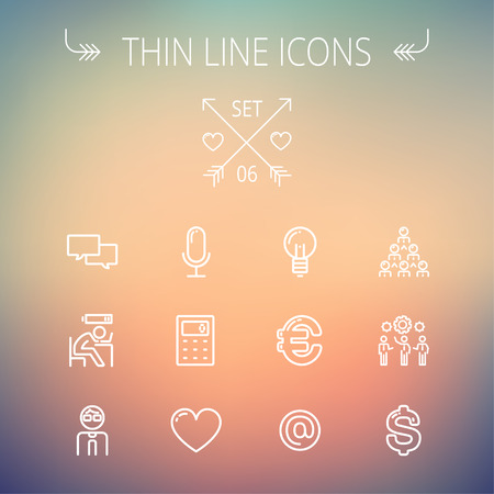 thin bulb: Business thin line icon set for web and mobile. Set includes-people, dollar, euro, bulb, e-mail, calculator, heart, microphone. Modern minimalistic flat design. Vector white icon on gradient mesh background. Illustration