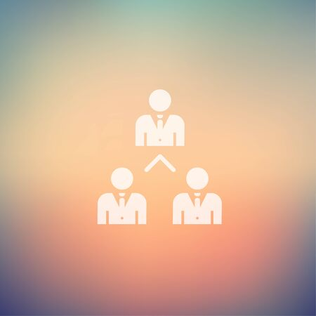 Three business people icon in flat style for web and mobile, modern minimalistic flat design. Vector white icon on gradient mesh background