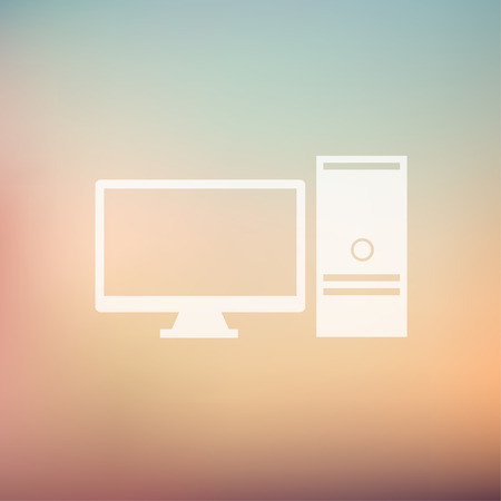 Personal computer icon in flat style for web and mobile, modern minimalistic flat design. Vector white icon on gradient mesh background