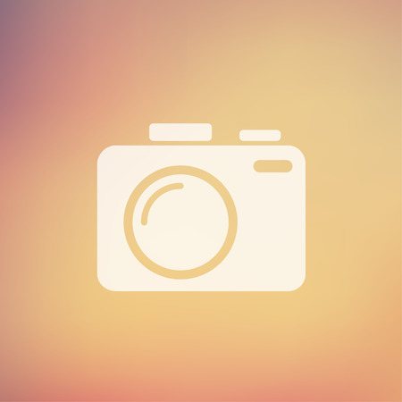 slr camera: SLR Camera icon in flat style for web and mobile, modern minimalistic flat design. Vector white icon on gradient, mesh background Illustration