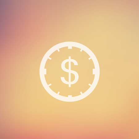dollar sign icon: Clock and dollar sign icon in flat style for web and mobile, modern minimalistic flat design. Vector white icon on gradient mesh background