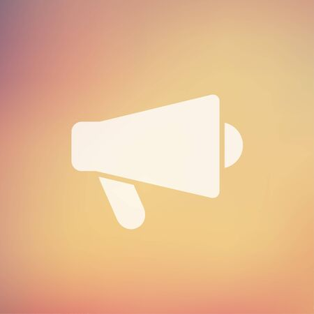 loud hailer: Megaphone, loudspeaker icon in flat style for web and mobile, modern minimalistic flat design. Vector white icon on gradient mesh background