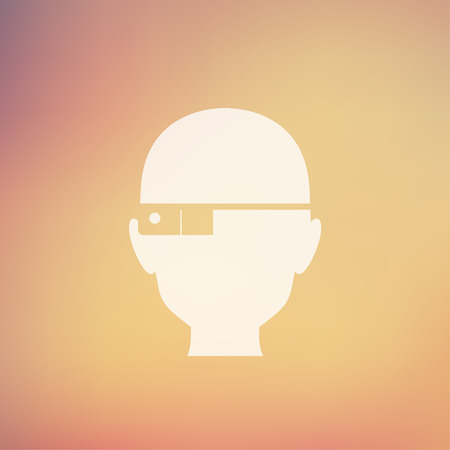bald spot: Bald man icon in flat style for web and mobile, modern minimalistic flat design. Vector white icon on gradient mesh background Illustration