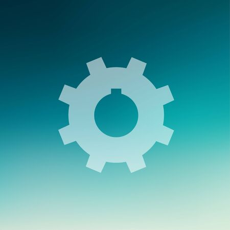 Gear icon in flat style for web and mobile, modern minimalistic flat design. Vector white icon on gradient mesh background