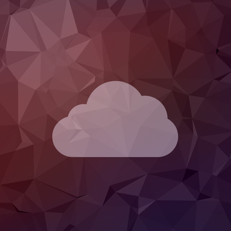 Cloud icon in flat style for web and mobile, modern minimalistic flat design. Vector white icon on  abstract polygonal background. Vector