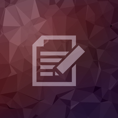 taking notes: Taking note icon in flat styel for web and mobile, modern minimalistic flat design. Vector white icon on abstract polygonal background.