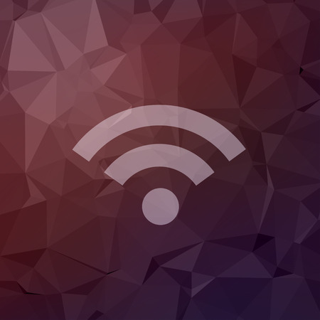 wifi icon: Wifi icon in flat style for web and mobile, modern minimalistic flat design. Vector white icon on abstract polygonal, background