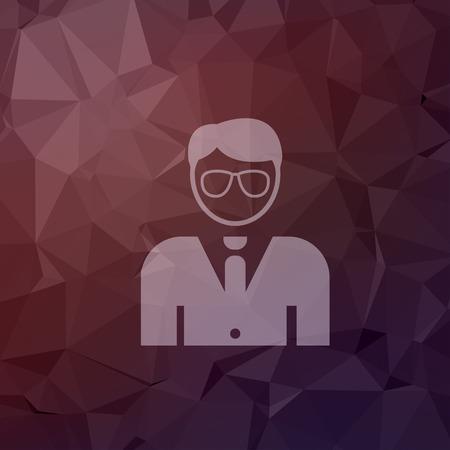 hombre guapo: Joven apuesto hombre en icono de estilo plano para web y m�vil, dise�o plano minimalista moderno. Vector icono blanco sobre fondo abstracto poligonal