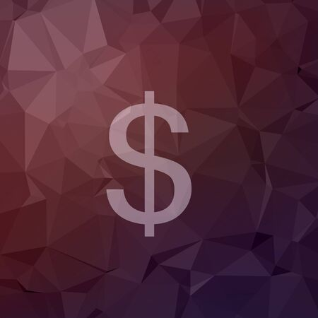 reprocess: Dollar symbol icon in flat style for web and mobile, modern minimalistic flat design. Vector white icon on abstract polygonal background Illustration