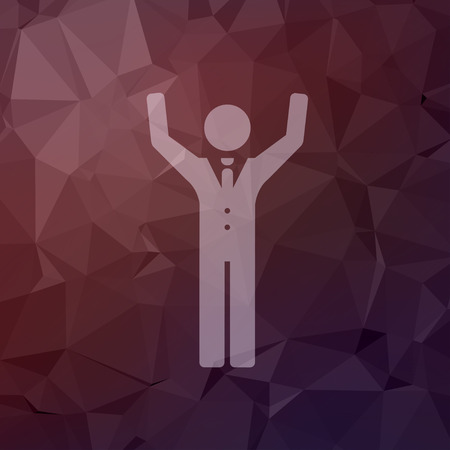 try: Happy man raising his hand icon in flat style for web and mobile, modern minimalistic flat design. Vector white icon on abstract polygonal background