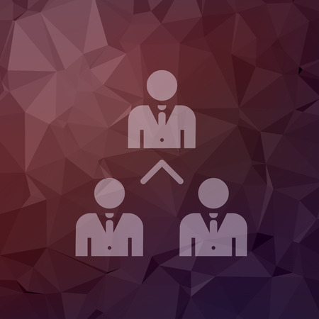 Three business people icon in flat style for web and mobile, modern minimalistic flat design. Vector white icon on abstract polygonal background Vector