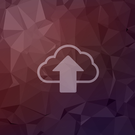 storage device: Cloud upload icon in flat style for web and mobile, modern minimalistic flat design. Vector white icon on abstract polygonal background