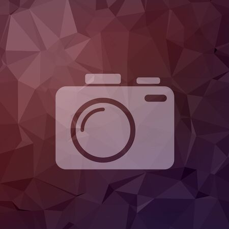 slr camera: SLR Camera icon in flat style for web and mobile, modern minimalistic flat design. Vector white icon on abstract polygonal background Illustration