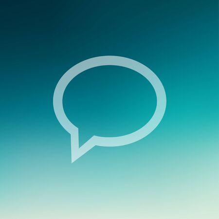 discussion forum: Speech bubble icon in flat style for web and mobile, modern minimalistic flat design. Vector white icon on gradient mesh background