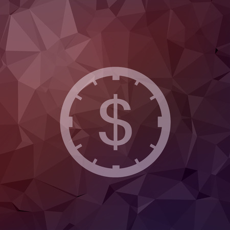dollar sign icon: Clock and dollar sign icon in flat style for web and mobile, modern minimalistic flat design. Vector white icon on abstract polygonal background