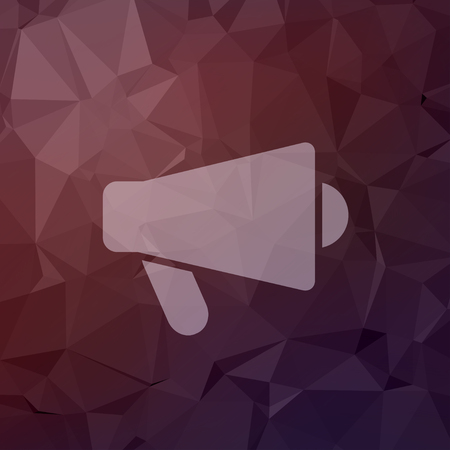 loud hailer: Megaphone, loudspeaker icon in flat style for web and mobile, modern minimalistic flat design. Vector white icon on abstract polygonal background