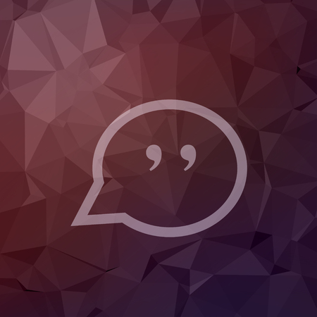 Quotation Mark Speech Bubble icon in flat style for web and mobile, modern minimalistic flat design. Vector white icon on abstract polygonal background