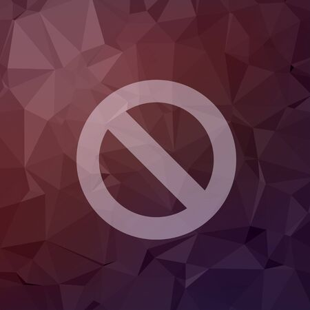 smoldering: Not allowed icon in flat style for web and mobile, modern minimalistic flat design. Vector white icon on abstract polygonal background Illustration