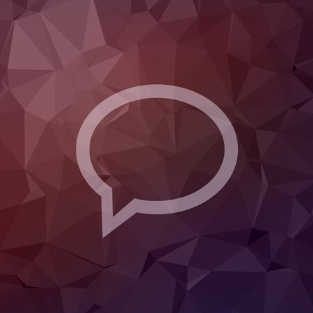 discussion forum: Speech bubble icon in flat style for web and mobile, modern minimalistic flat design. Vector white icon on abstract polygonal background