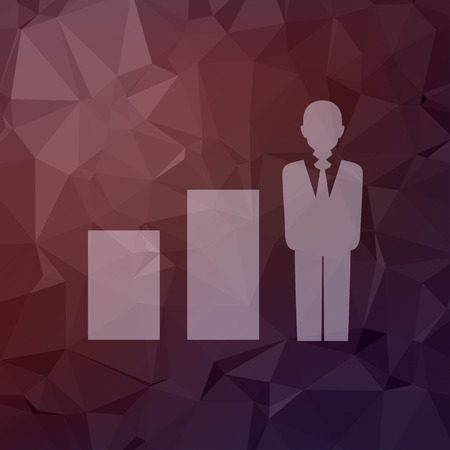 friend chart: Man in growing diagram icon in flat style for web and mobile, modern minimalistic flat design. Vector white icon on abstract polygonal background