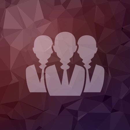 Three men icon in flat style for web and mobile, modern minimalistic flat design. Vector white icon on abstract polygonal background