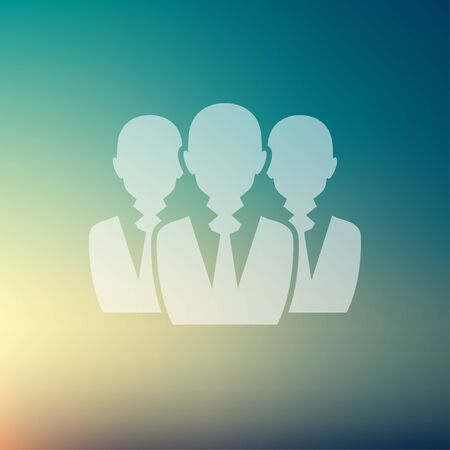 Three men icon in flat style for web and mobile, modern minimalistic flat design. Vector white icon on gradient mesh background