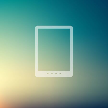 using tablet: Tablet icon in flat style for web and mobile, modern minimalistic flat design. Vector white icon on gradient mesh background