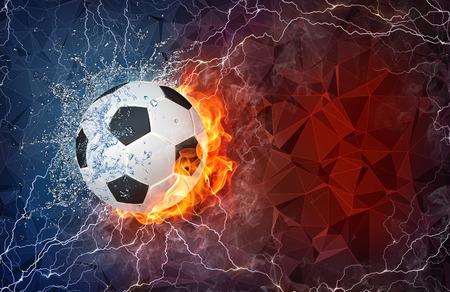 balon soccer: Balón de fútbol en el fuego y el agua con iluminación alrededor en fondo abstracto poligonal. Diseño horizontal con espacio de texto.