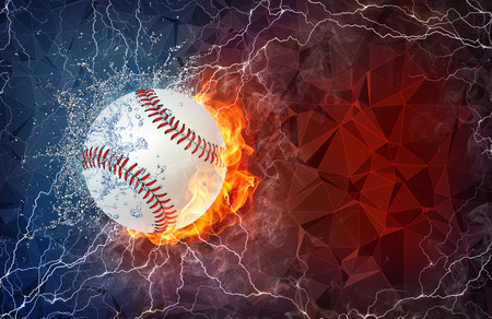 fastball: Softball ball on fire and water with lightening around on abstract polygonal background. Horizontal layout with text space.