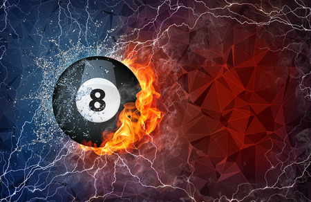 Billiard ball on fire and water with lightening around on abstract polygonal background. Horizontal layout with text space. Banco de Imagens