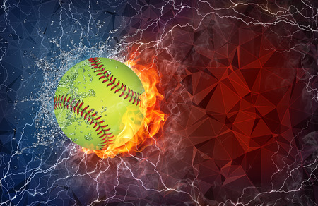 softball: Baseball ball on fire and water with lightening around on abstract polygonal background. Horizontal layout with text space.