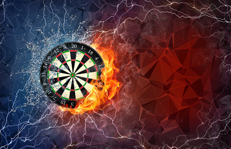 Dart board on fire and water with lightening around on abstract polygonal background. Horizontal layout with text space. Stock Photo