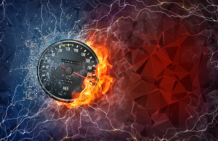 kilometer: Kilometer gauge on fire and water with lightening around on abstract polygonal background. Horizontal layout with text space.