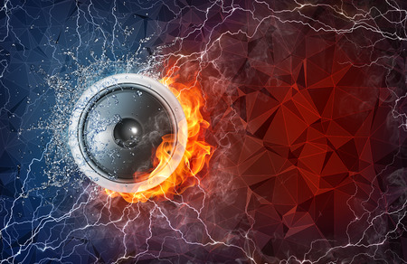 lightening: Speaker on fire and water with lightening around on abstract polygonal background. Horizontal layout with text space.