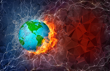 lightening: Globe on fire and water with lightening around on abstract polygonal background. Horizontal layout with text space. Stock Photo