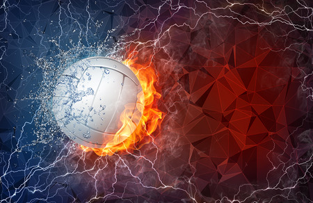 Volleyball ball on fire and water with lightening around on abstract polygonal background. Horizontal layout with text space.