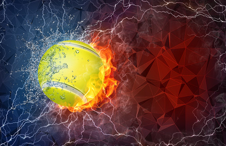 Tennis ball on fire and water with lightening around on abstract polygonal background. Horizontal layout with text space. Foto de archivo