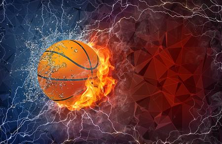 pelota de basquet: Bola del baloncesto en el fuego y el agua con iluminación alrededor sobre fondo abstracto poligonal. Diseño horizontal con espacio de texto. Foto de archivo
