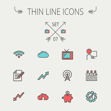 Business thin line icon set for web and mobile. Set includes- wifi, notepad, cloud arrows, antenna, money, gear icons. Modern minimalistic flat design. Vector icon with dark grey outline and offset colour on light grey background. Illustration