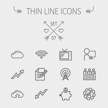 web icons: Business thin line icon set for web and mobile. Set includes- wifi, notepad, cloud arrows, antenna, money, gear icons. Modern minimalistic flat design. Vector dark grey icon on light grey background.