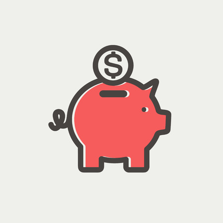 coin bank: Piggy bank and dollar coin icon thin line for web and mobile, modern minimalistic flat design. Vector icon with dark grey outline and offset colour on light grey background.