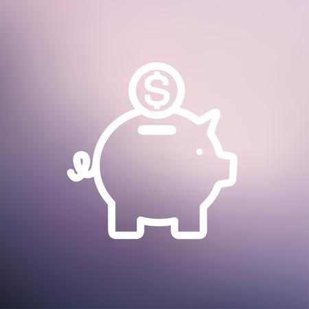 Spaarvarken en dollar munt pictogram dunne lijn voor het web en mobiel, modern minimalistisch plat design. Vector wit pictogram op verloopnet achtergrond.