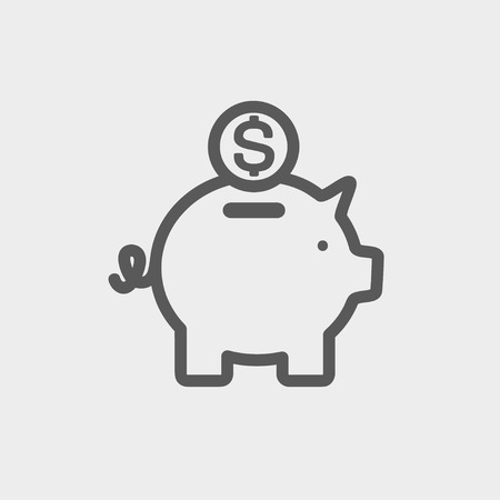 Piggy bank and dollar coin icon thin line for web and mobile, modern minimalistic flat design. Vector dark grey icon on light grey background.