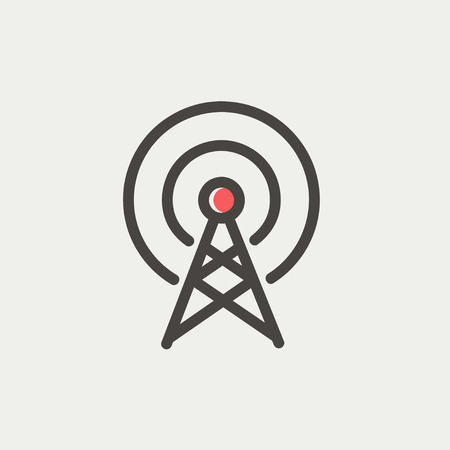 Antenna icon thin line for web and mobile, modern minimalistic flat design. Vector icon with dark grey outline and offset colour on light grey background.