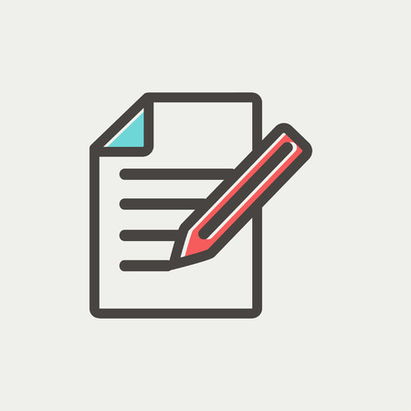 taking notes: Taking note icon thin line for web and mobile, modern minimalistic flat design. Vector icon with dark grey outline and offset colour on light grey background.