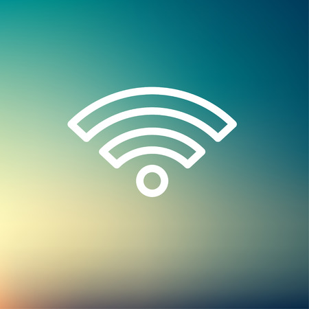 wifi icon: Wifi icon thin line for web and mobile, modern minimalistic flat design. Vector white icon on gradient mesh background. Illustration