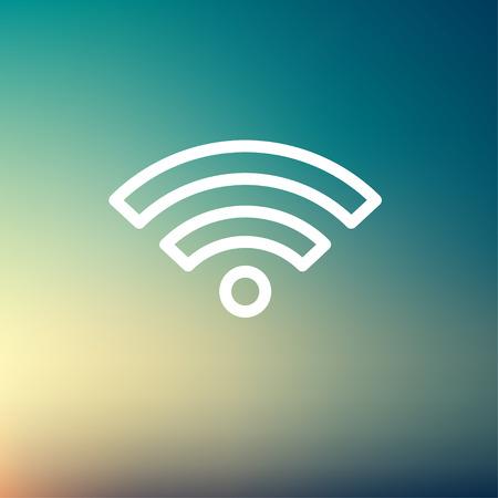 icono wifi: Wifi icono de l�nea delgada para web y m�vil, dise�o plano minimalista moderno. Vector icono blanco sobre fondo de malla de degradado. Vectores