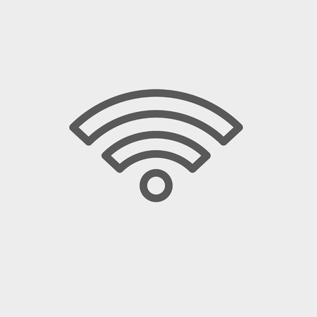wifi icon: Wifi icon thin line for web and mobile, modern minimalistic flat design. Vector dark grey icon on light grey background.