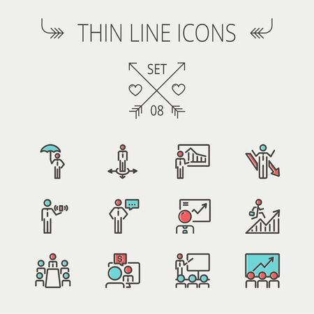 Business thin line icon set for web and mobile. Set includes- people, wifi, arrows, money, umbrella icons. Modern minimalistic flat design. Vector icon with dark grey outline and offset colour on light grey background. Vector